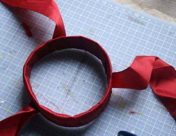 Staple on ribbon