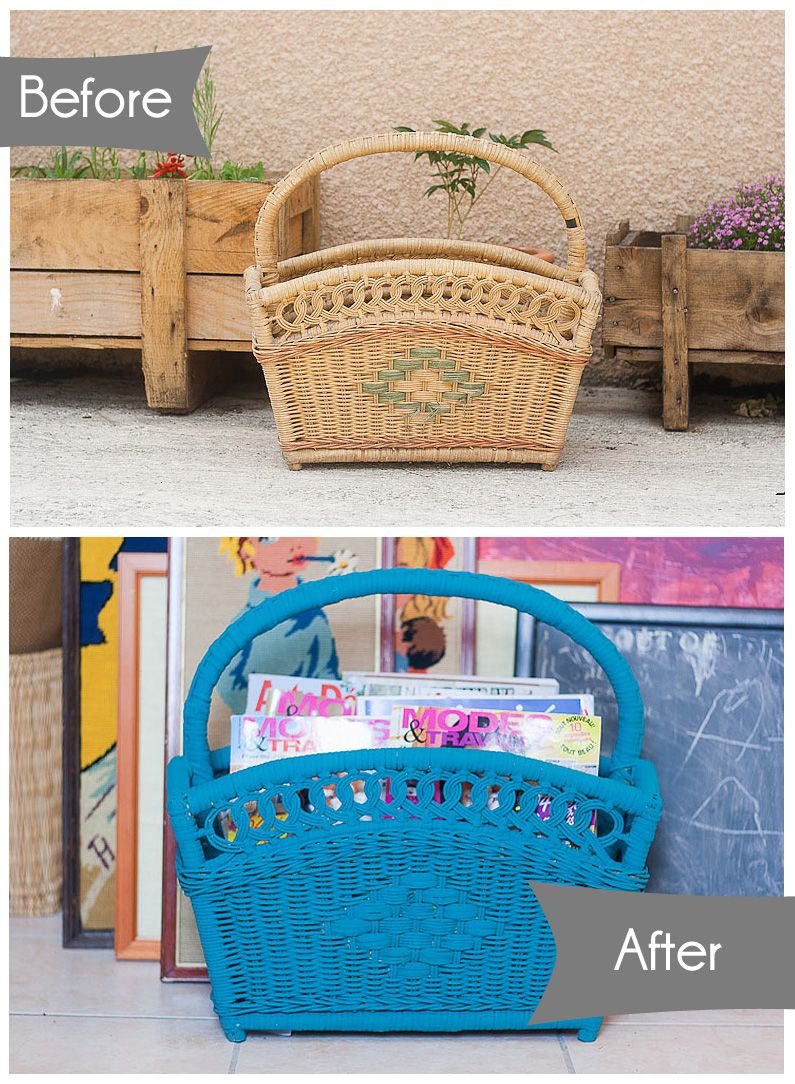 Flea Market Chic Storage Series Callaloo Soup - Magazine Basket before and after