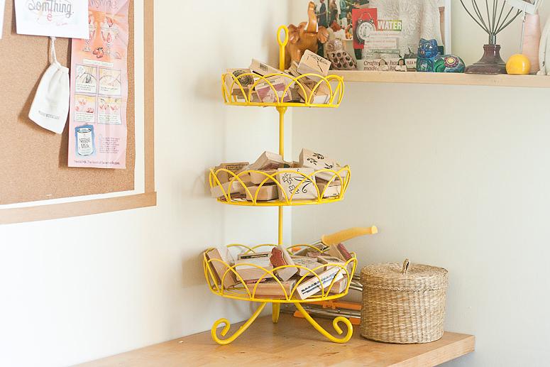 Flea Market Chic - Yellow 3-tier basket in place - Callaloo Soup