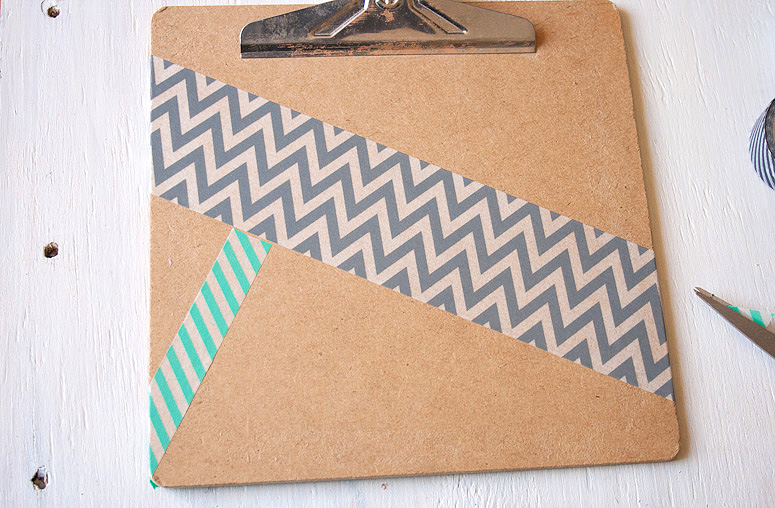 DIY - Snazz Up a Clipboard with Washi Tape at Callaloo Soup - Step 2a