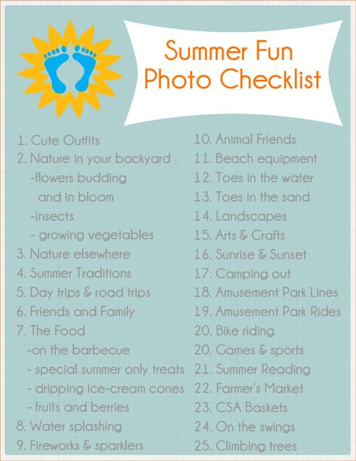 Summer Fun Photo Checklist 2013 from writeclickscrapbook