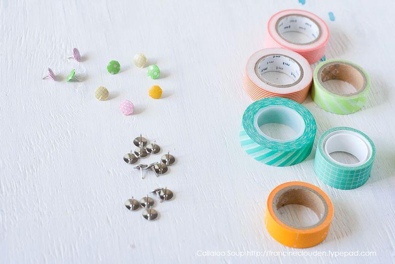 Tuesday To-Do at Callaloo Soup - Washi Tape Thumbtacks Make more