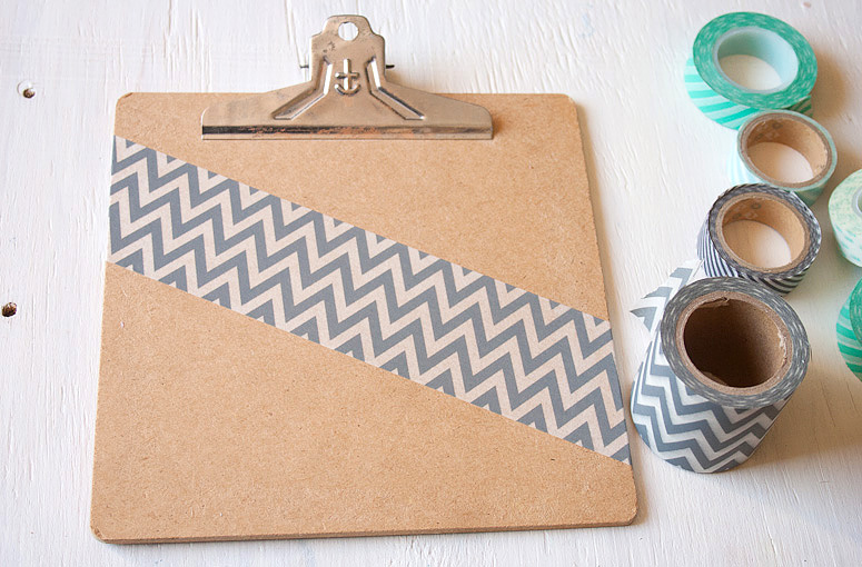 DIY - Snazz Up a Clipboard with Washi Tape at Callaloo Soup - Step 1