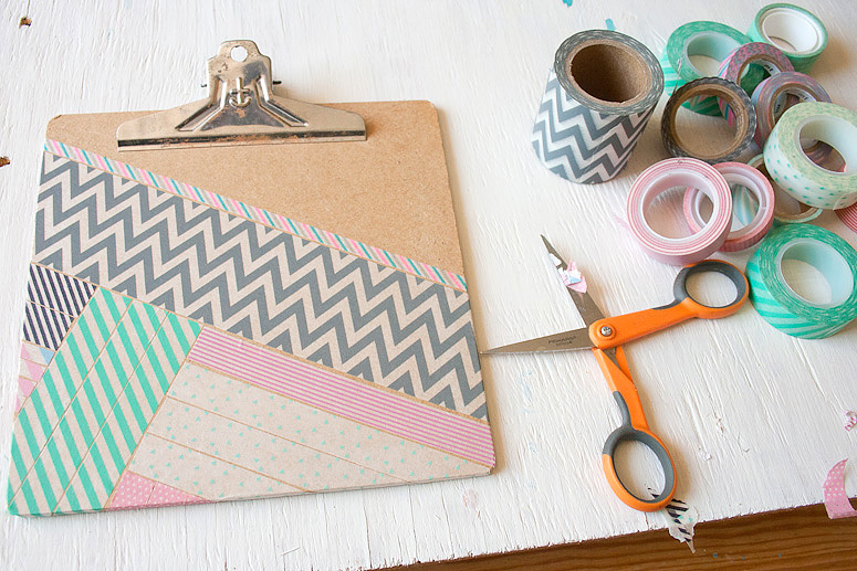 DIY - Snazz Up a Clipboard with Washi Tape at Callaloo Soup - Pops of Pink