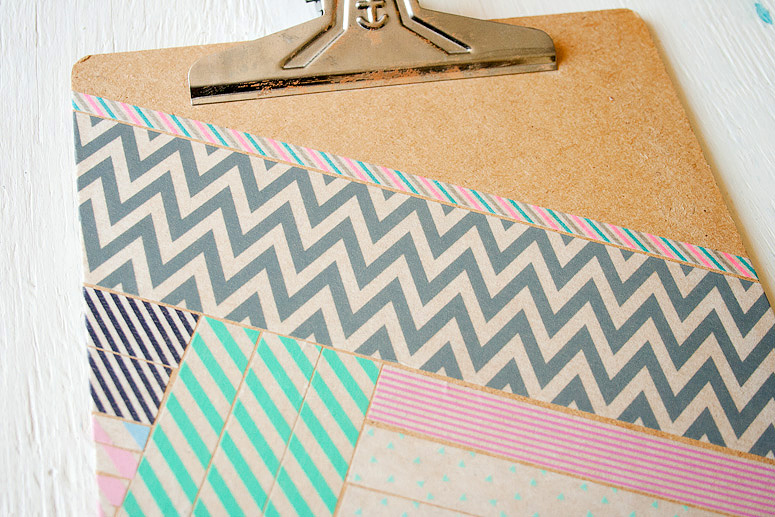 DIY - Snazz Up a Clipboard with Washi Tape at Callaloo Soup - Close up