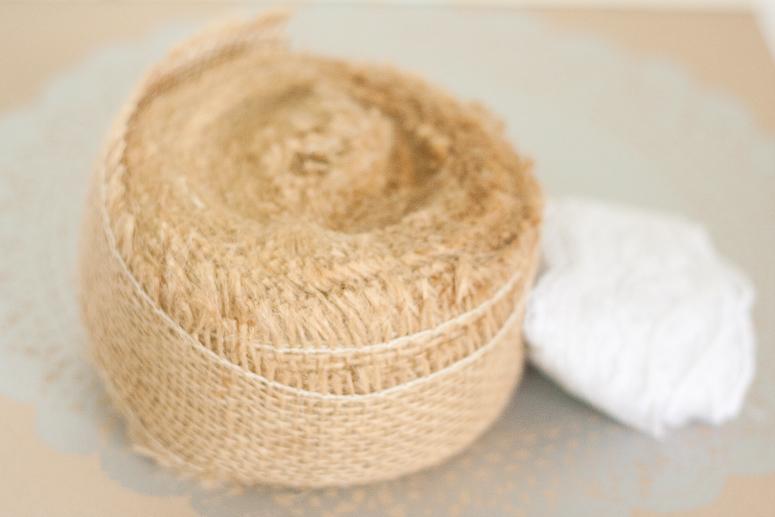 Burlap and lace at Callaloo Soup - supplies