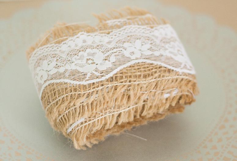 Burlap and lace at Callaloo Soup - roll of ribbon
