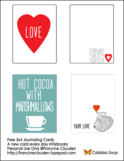 Free 3x4 Cards from Callaloo Soup Feb 1-4
