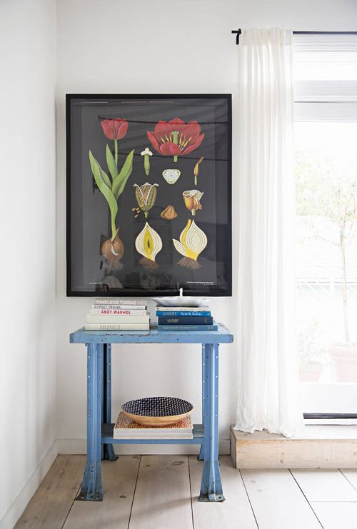 Vintage Metal Table with Botanical print in Anne Ziegler home tour at Domino Magazine