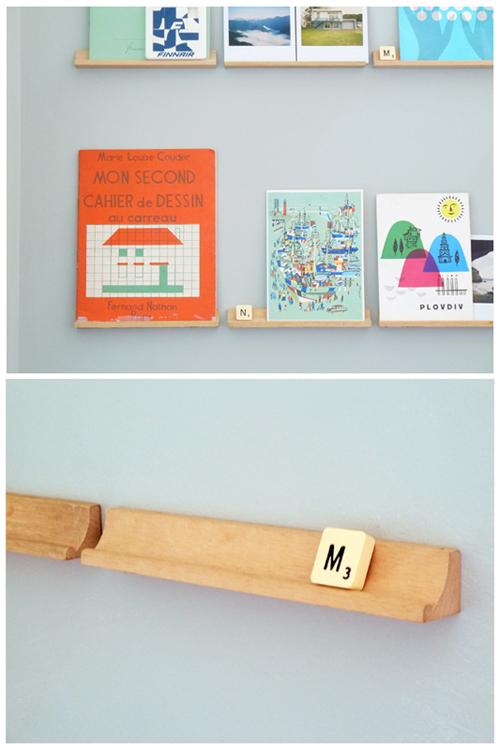 Scrabble shelves at Poppytalk