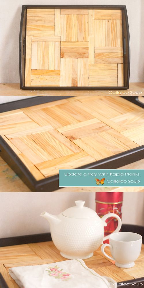 Update a tray using Faux Kapla Planks - Callaloo Soup  -Collage