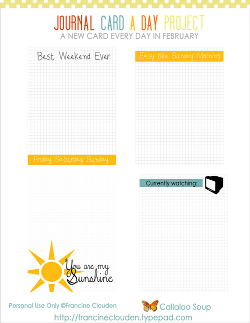 Free Feb 21-24 Journaling Cards from Callaloo Soup