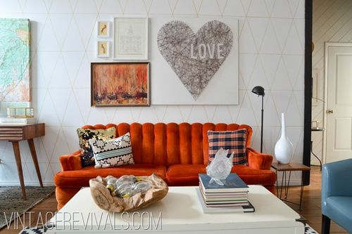 Thrift store gallery wall Living Room Makeover @ Vintage Revivals