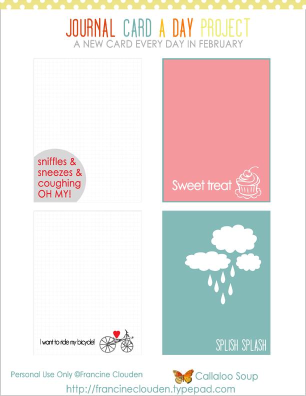 Free Feb 17-20 Journaling Cards from Callaloo Soup