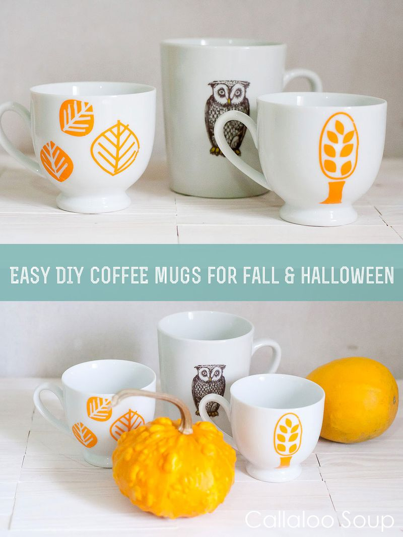 Easy DIY Customizable Halloween Coffee Mugs by Callaloo Soup
