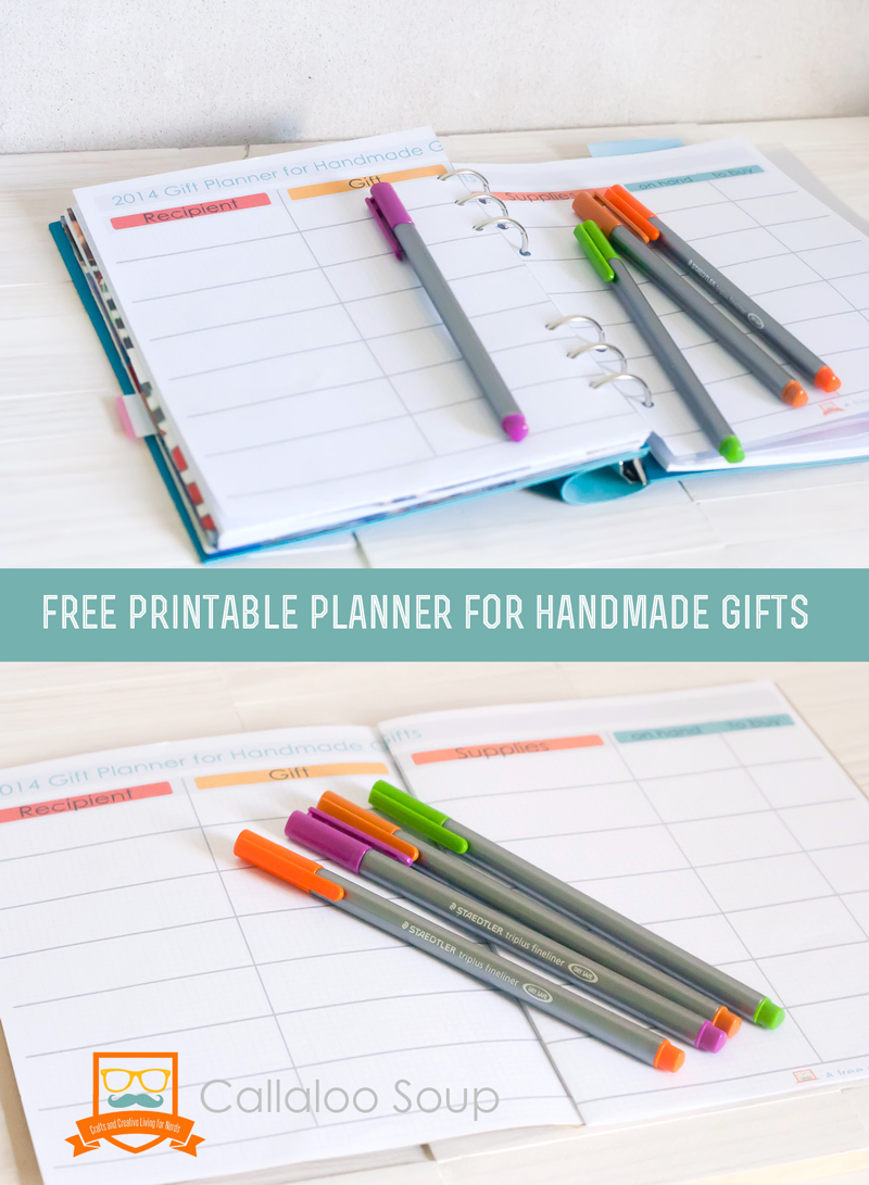 Download a free planner for handmade Christmas gifts from Callaloo Soup